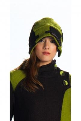 Bonnet bicolore, style hippie chic, original, en laine et viscose