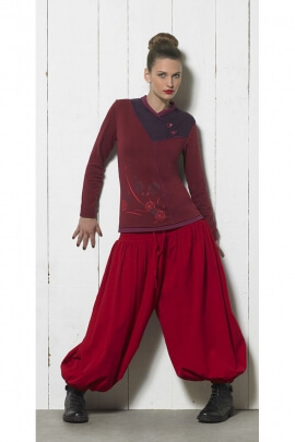 Sarouel ethnique uni en coton pour femme, style Aladin et bouffant