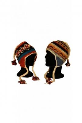 Bonnet péruvien décontracté en maille de laine doublé de polyester