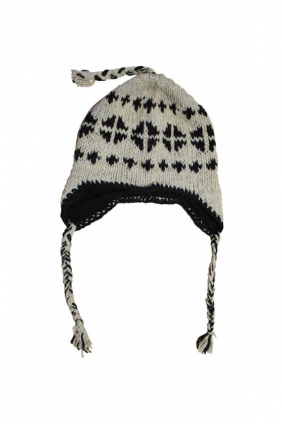 ONE SIZE HAT MENS LADIES KNITTED BOBBLE PERUVIAN PERU HATS WINTER FLEECE LINED