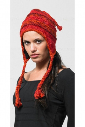 Peruvian hat casual wool knit polyester lining