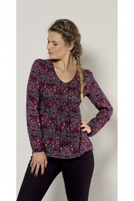 Original floral print blouse, Indian trendy cut, V-neck