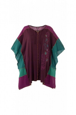 Poncho embroidered and stitched mesh 95% polyester and 5% elastane