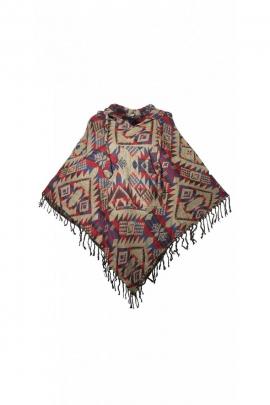 Poncho népalais hippie chic, à capuche, avec franges et poches kangourou