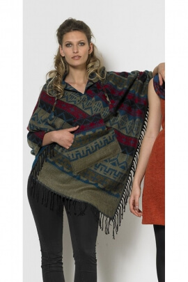 Poncho Nepal hippie chic, hood, with fringes and kangaroo pockets