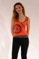 Ethnic cross-sleeve tank top in cotton, elastane and polyester