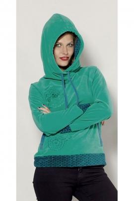 Pull sweat à capuche original et décontracté, en velours hyper doux, motifs brodés