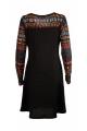Robe d'hiver originale, manches longues, effet collier imprimé ethnique