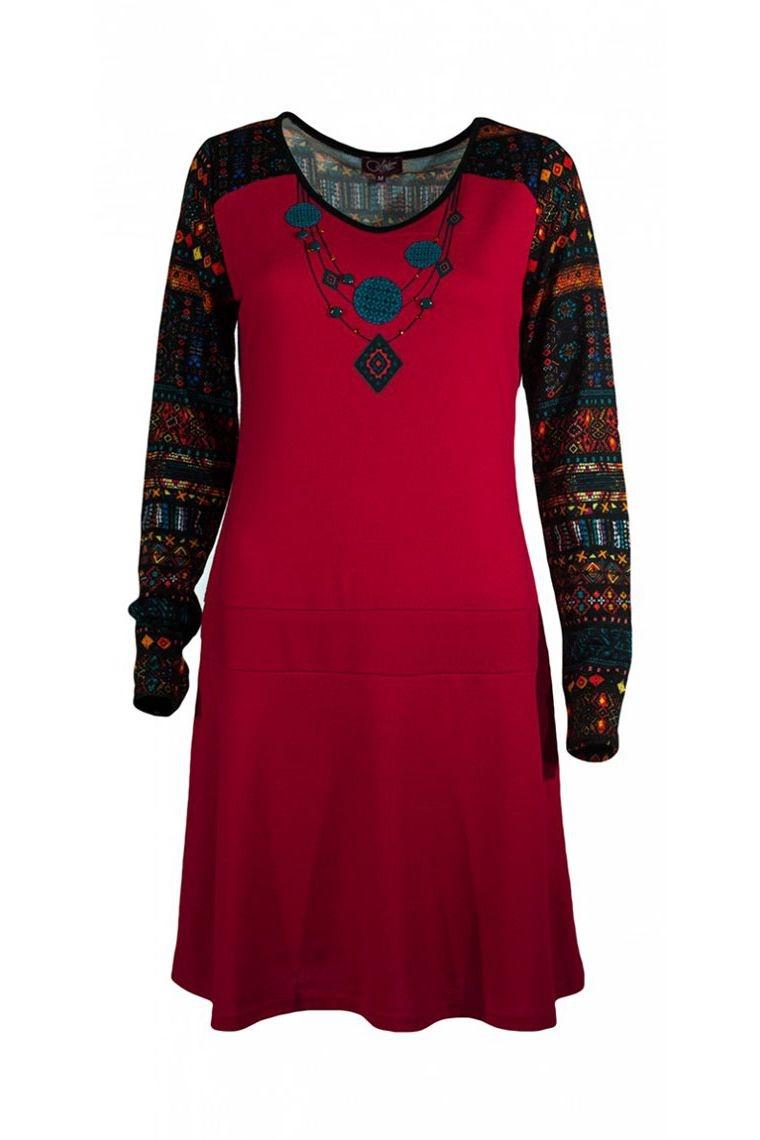 robe d hiver hippie chic et d contract e manches longues effet collier imprim ethnique. Black Bedroom Furniture Sets. Home Design Ideas