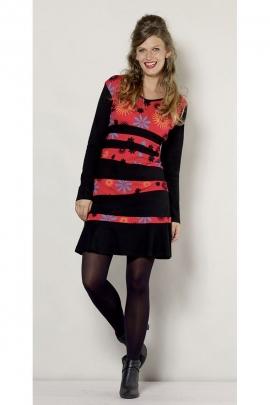 Robe courte colorée, patchwork horizontal et asymétrique, motif floral