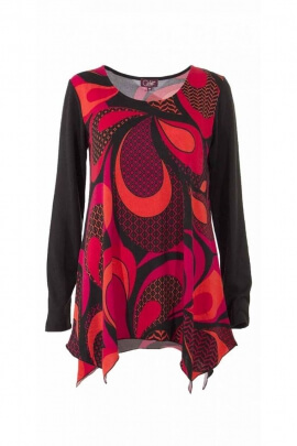 Original tunic for women, printed style seventies, low finish into wedges