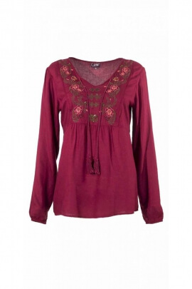 Ethnic embroidered blouse Viscose, romantic Indian style
