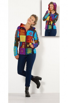 Jacket multicolored harlequin, hippie style, razor cut fabric pieces