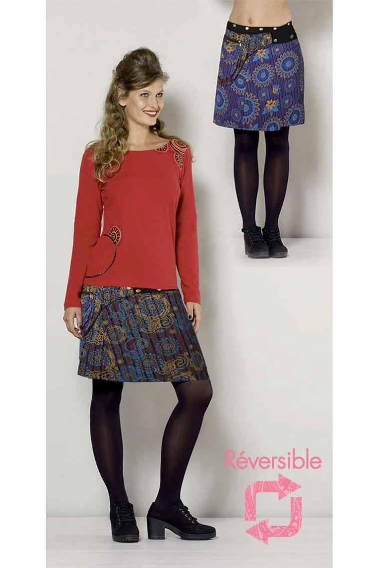 9dda676e4 Falda corta de invierno reversible, de rayas y de impresos, colorido
