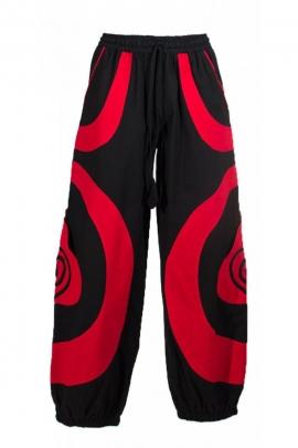 Pantalon sarouel bicolore pour homme, motif spiral, style teufeur
