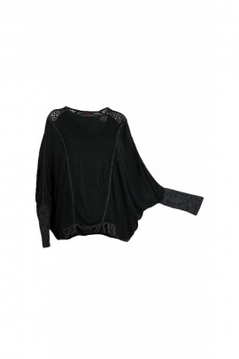 Poncho ample hippie chic, 3/4 sleeves bat armhole