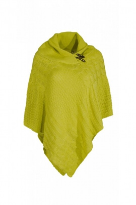 Poncho pointed united, hippie chic, with 2 wooden buttons