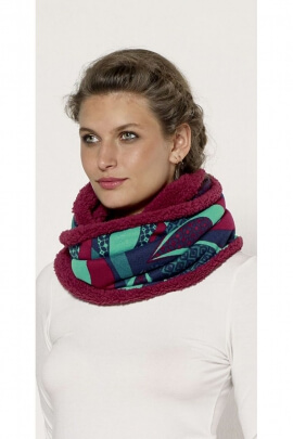 Scarf colorful style snood, tube, lined with fur