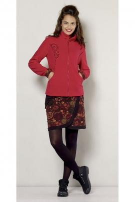 Jupe courte réglable à rivets et poche côté, colorée et fleurie