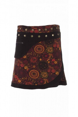 Adjustable short skirt rivets and side pocket, colored and flowered