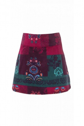 Short skirt velvet, colored and printed ras chic hippie hanging Châtelaine
