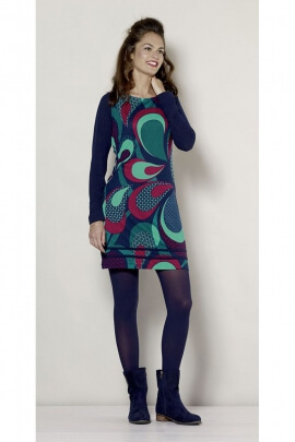 Robe d'hiver courte originale, imprimé tendance psychédélique seventy's