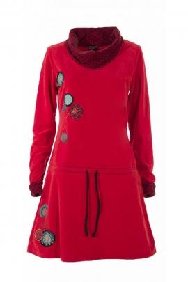 Robe manteau décontractée, en velours ras, col snood, style hippie chic
