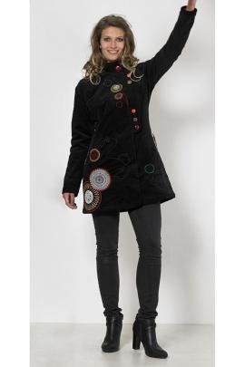 Manteau de style urbain en velours broderies florales