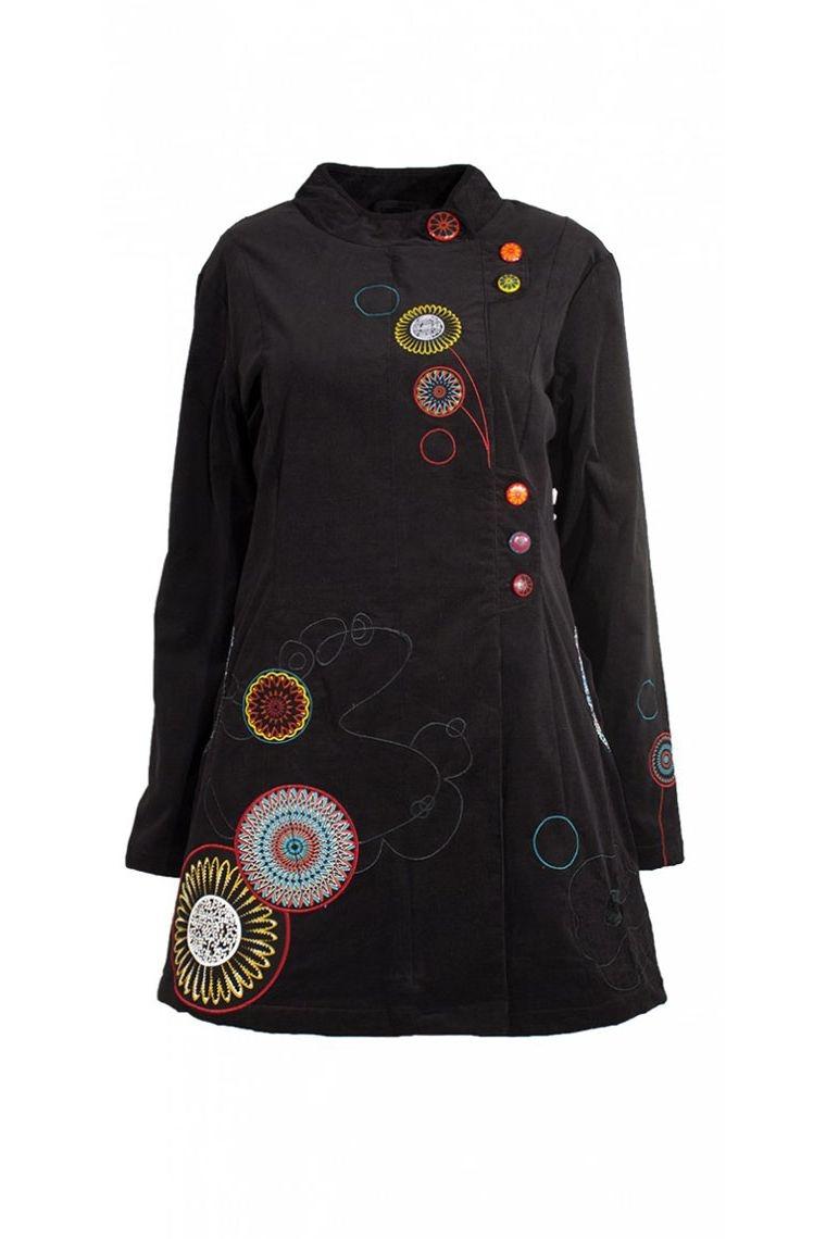 manteau pas cher solde velour brodée original coloré patch mandala fleurie solde hiver super promotion