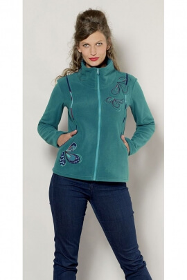 Original Fleece jacket with colorful embroidery drop form