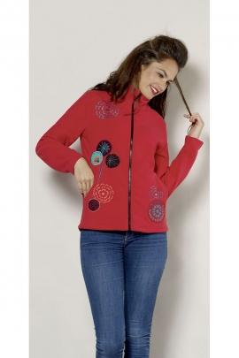 Chaqueta de lana de colores con cremallera, ramo de flores bordadas