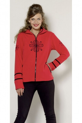 Colored fleece jacket, hooded, with original embroidery plants