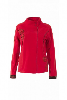 Original Fleece jacket, collar and beautiful ethnic embroidery