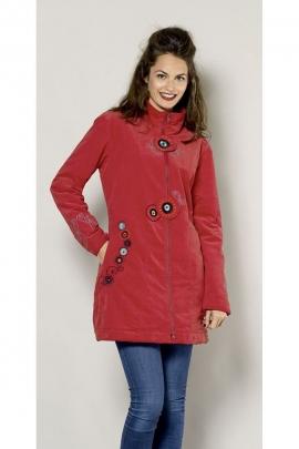Manteau stylé mi-long en velours, col montant, matière textile feutrée et brodée