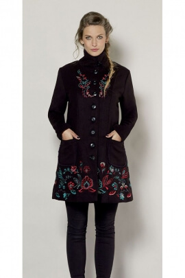 Chic and elegant style coat, corduroy, original floral embroidery