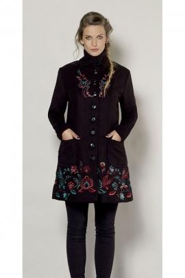 Manteau de style chic et élégant, en velours côtelé, broderies florales originales