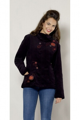 Jacket original velvet, faux fur lined with floral embroidery