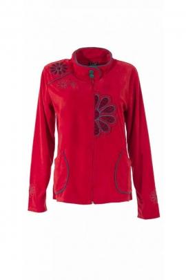 Veste en velours très doux, col montant et broderies colorées originales