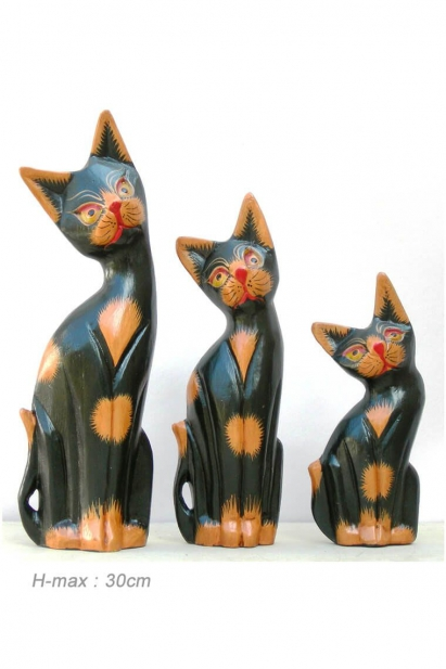 Set of three wooden hand carved cats, native to Indonesia, colorful décor