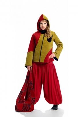 Blouson pour femme en velours de coton, style baba cool original