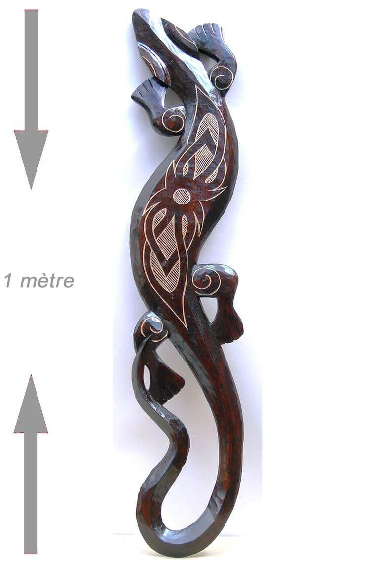 Gecko mural en bois sculpté : Lézard déco ethnique d'origine asiatique