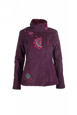 Veste en velours hippie chic, fermeture zip, motif coloré