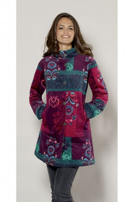 Chic Coat woman length three-quarter patchwork colorful patterns