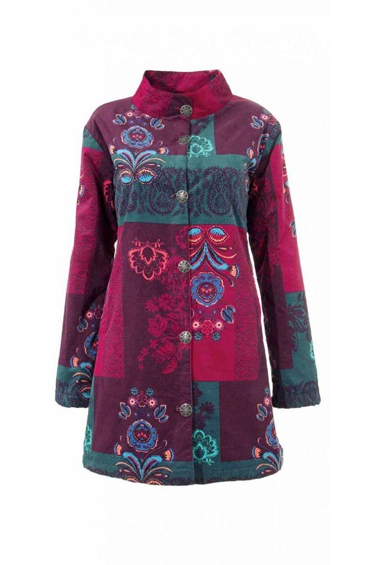 mateau brodée colorée motifs fleuries imprimé laine tricotée fourrure légère épais doudoune pas cher