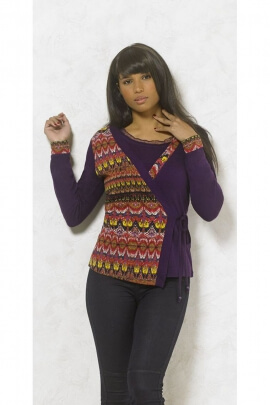 Jacket chic and original cover heart tied on the side, colored ethnic motifs