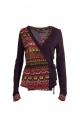 Veste chic et originale, cache-cœur noué sur le côté, motifs ethniques colorés