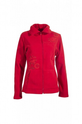 Curved fleece, floral embroidery with kangaroo pockets and collar