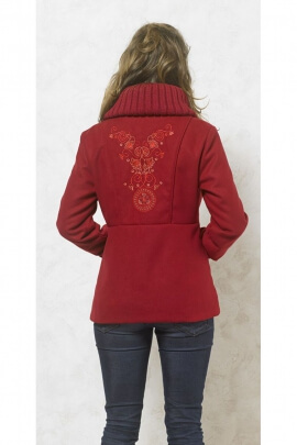 Original chic coat, bent with colorful floral embroidery