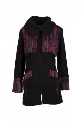 Très chic manteau trois quart avec pièce pardessus originale en imitation laine