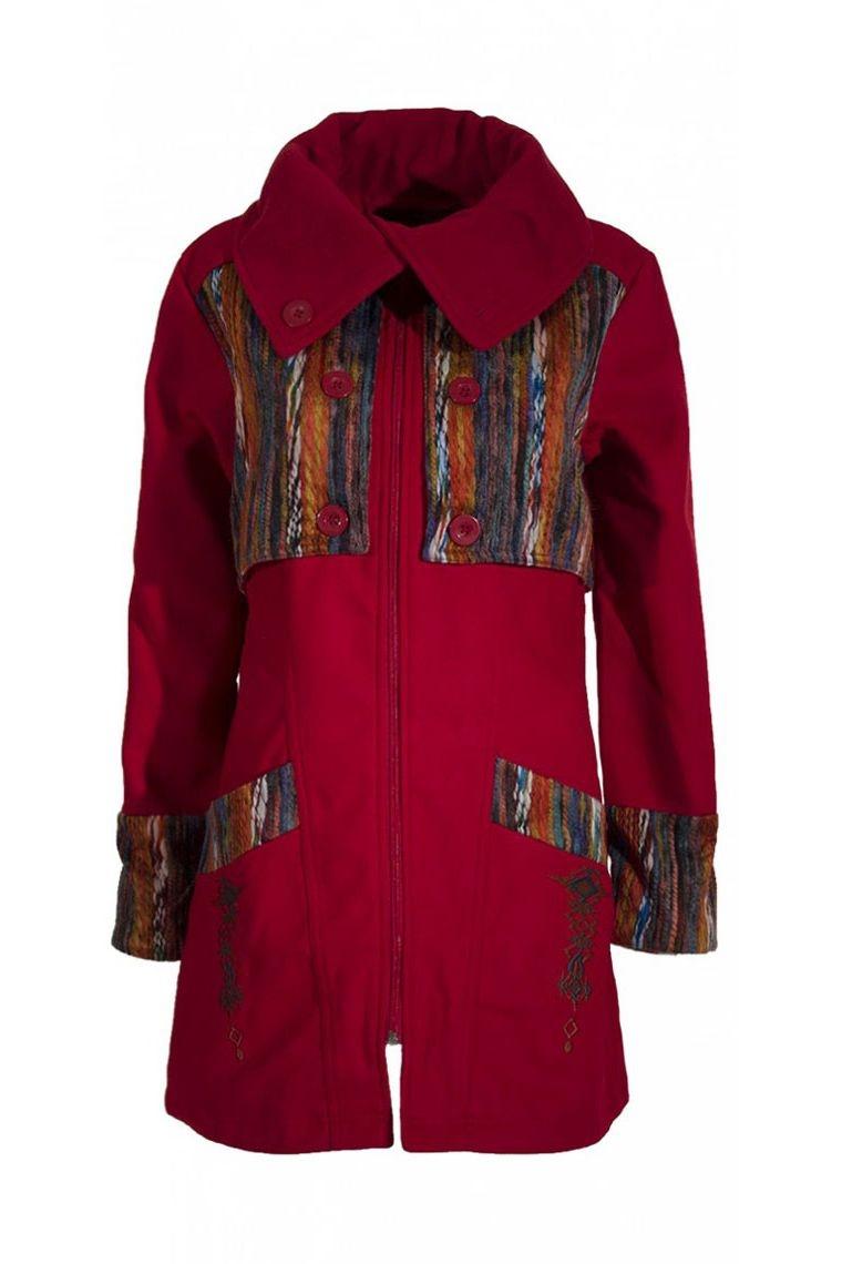 Muy elegante abrigo tres cuartos con un abrigo original de imitación de  lana Talla S Color Roja